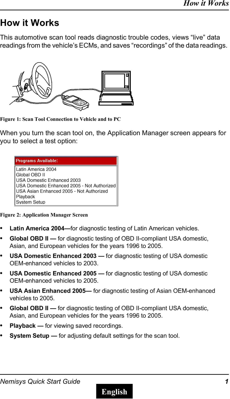 America 2004 for diagnostic testing of Latin American vehicles. Global OBD II for diagnostic testing of OBD II-compliant USA domestic, Asian, and European vehicles for the years 1996 to 2005.