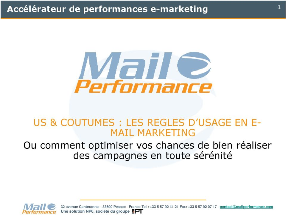 MAIL MARKETING Ou comment optimiser vos