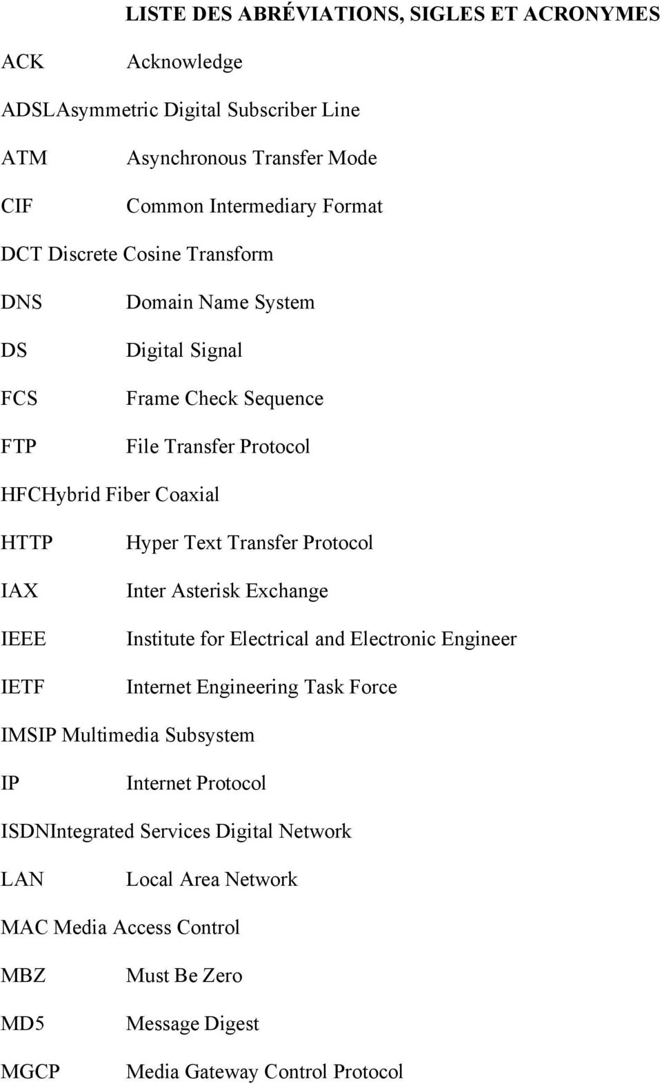 Hyper Text Transfer Protocol Inter Asterisk Exchange Institute for Electrical and Electronic Engineer Internet Engineering Task Force IMSIP Multimedia Subsystem IP