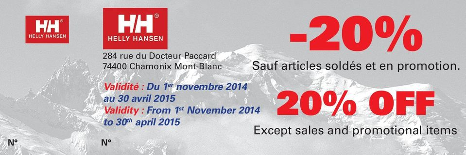 From 1 st November 2014 to 30 th april 2015-20% Sauf