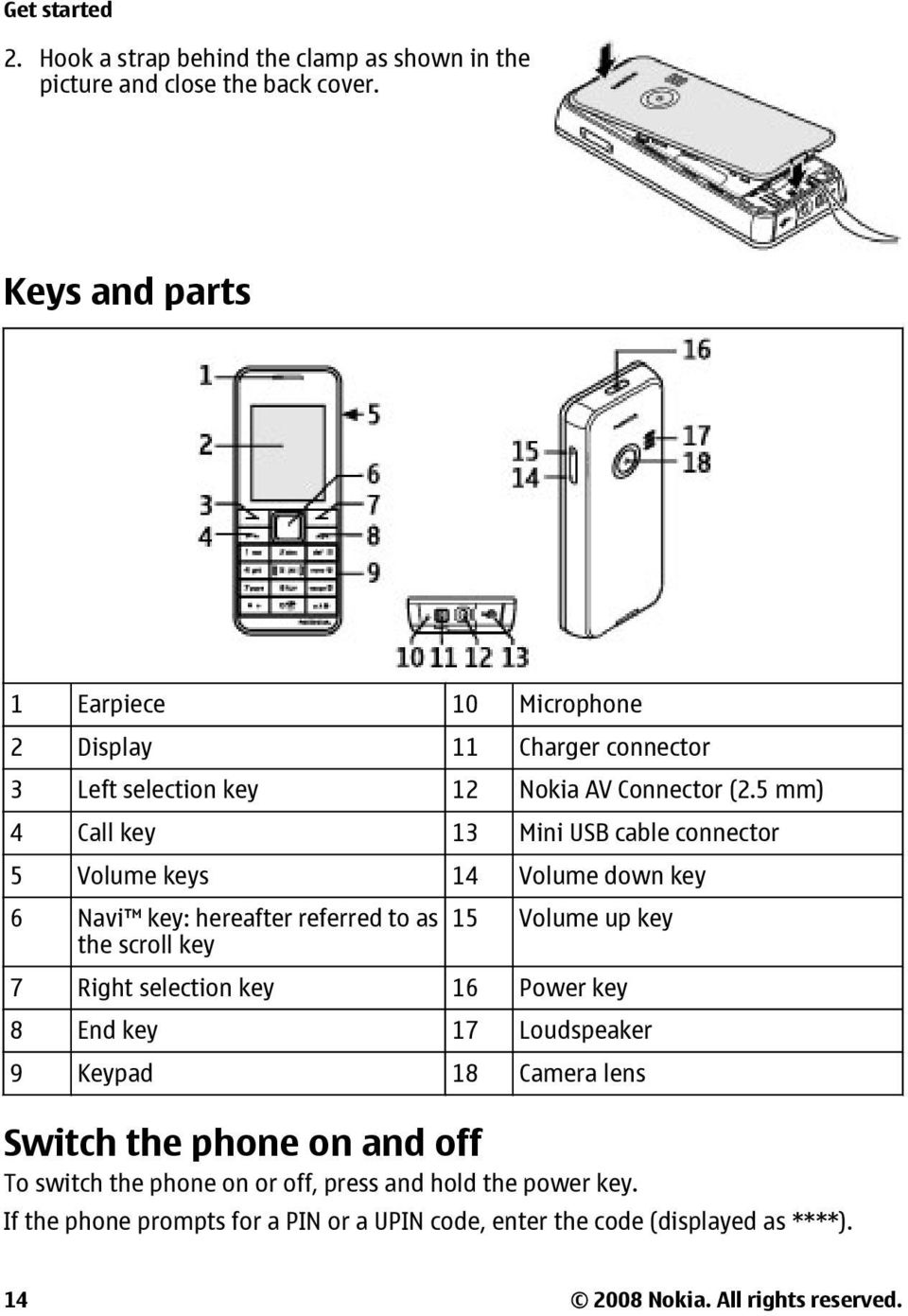 5 mm) 4 Call key 13 Mini USB cable connector 5 Volume keys 14 Volume down key 6 Navi key: hereafter referred to as the scroll key 15 Volume up key 7 Right