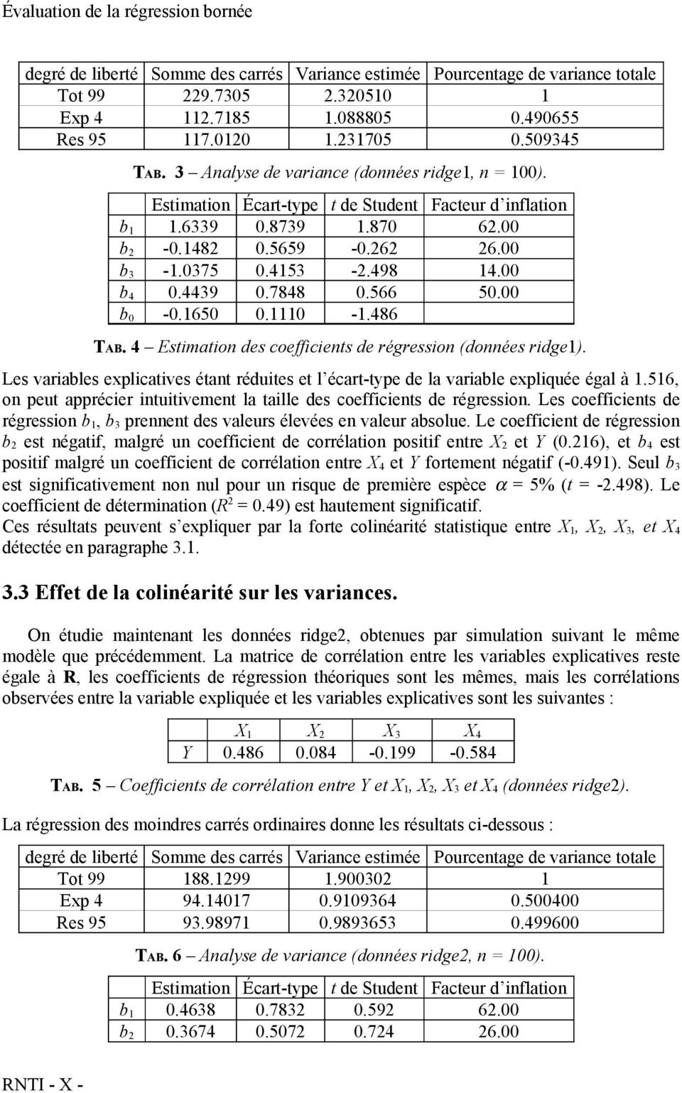 4439 0.7848 0.566 50.00 b 0-0.1650 0.1110-1.486 TAB. 4 Estimation des coefficients de régression (données ridge1).