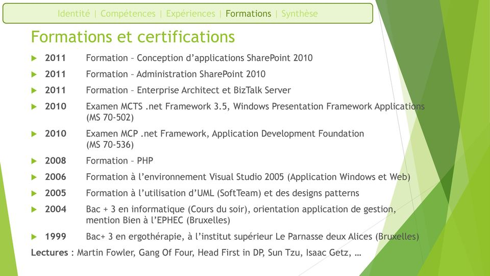 net Framework, Application Development Foundation (MS 70-536) 2008 Formation PHP 2006 Formation à l environnement Visual Studio 2005 (Application Windows et Web) 2005 Formation à l utilisation d UML