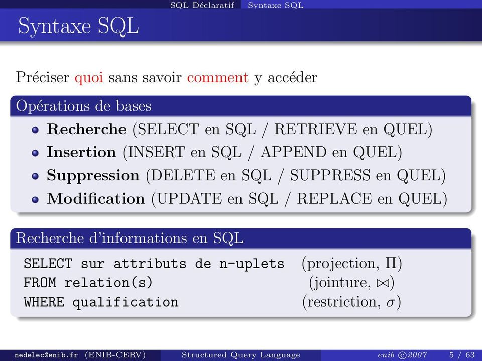 (UPDATE en SQL / REPLACE en QUEL) Recherche d informations en SQL SELECT sur attributs de n-uplets (projection, Π) FROM
