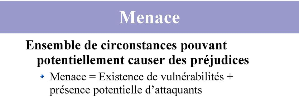 préjudices Menace = Existence de