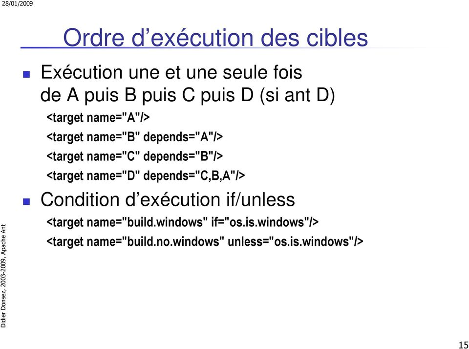 "depends=""b""/> <target name=""d"" depends=""c,b,a""/> Condition d exécution if/unless <target"