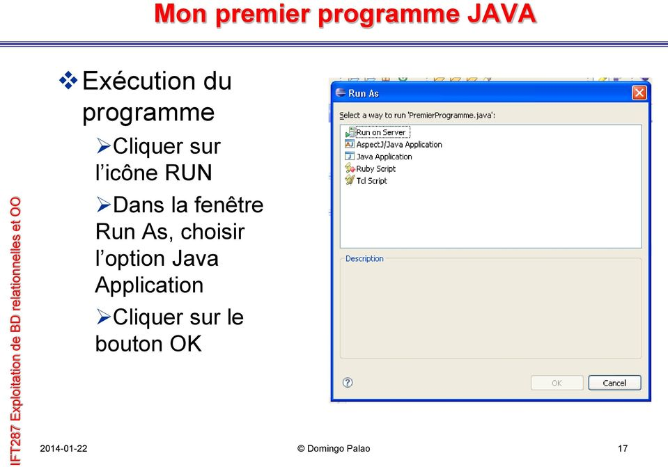 choisir l option Java Application