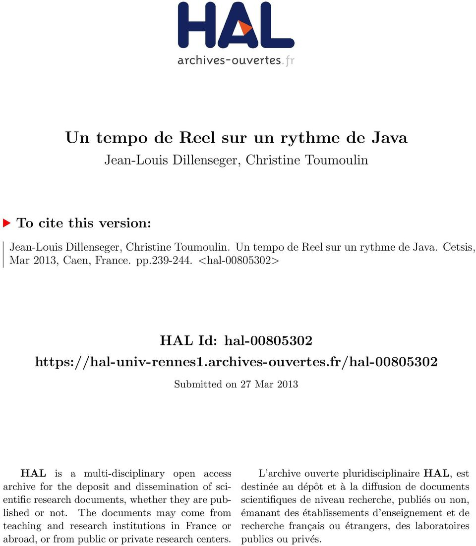 fr/hal-00805302 Submitted on 27 Mar 2013 HAL is a multi-disciplinary open access archive for the deposit and dissemination of scientific research documents, whether they are published or not.