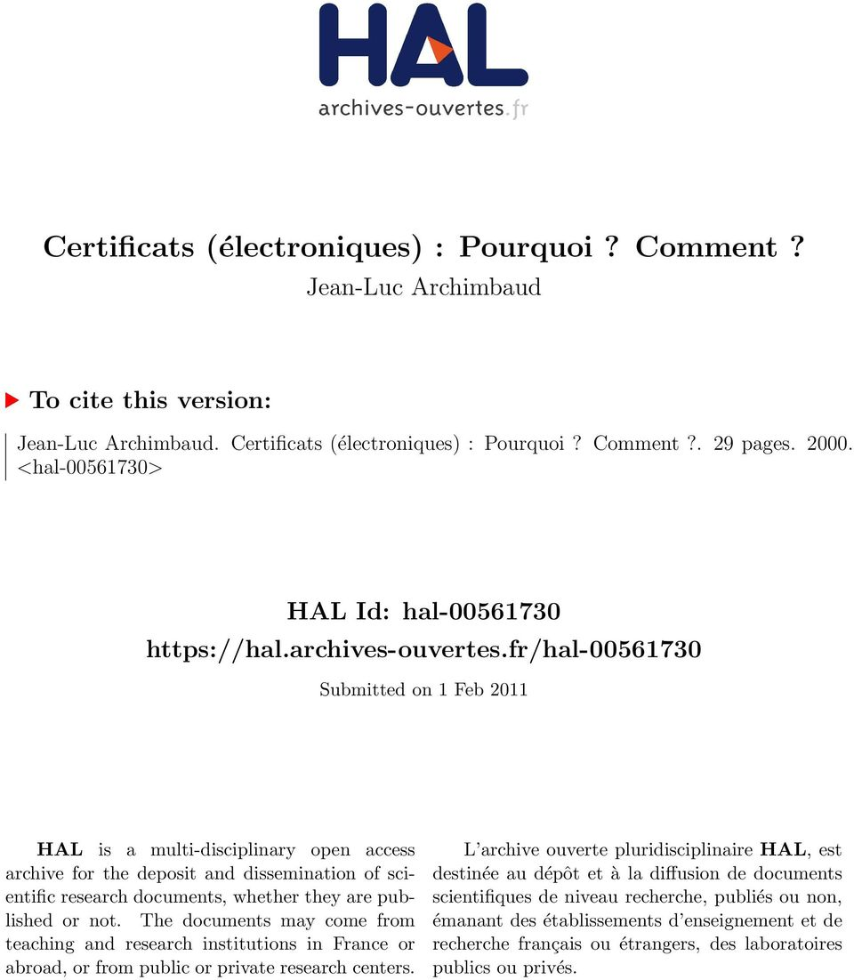 fr/hal-00561730 Submitted on 1 Feb 2011 HAL is a multi-disciplinary open access archive for the deposit and dissemination of scientific research documents, whether they are published or not.