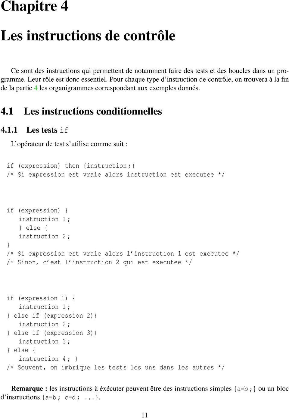 Les instructions conditionnelles 4.1.