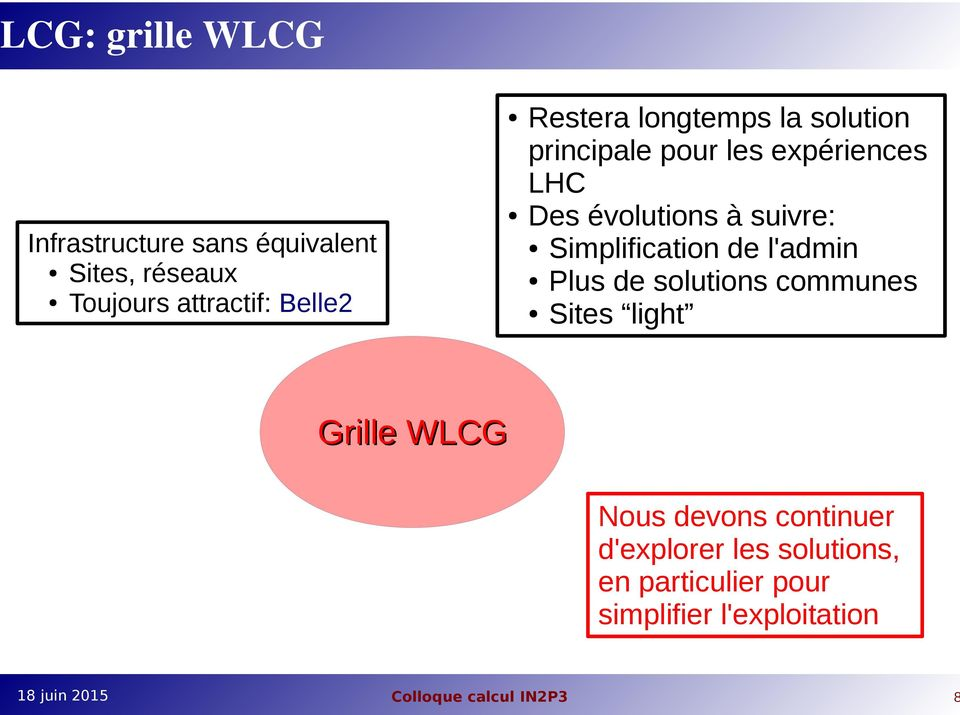 à suivre: Simplification de l'admin Plus de solutions communes Sites light Grille WLCG