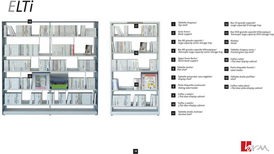 verre / Frosted glass top shelf 5 Appui livres Recto/ Recto book support 16 Coffre1 volet/ 1 flat door display cabinet 6 Tablette droite/ Flat shelf 17 Porte étiquette frontal / label holder 16 7