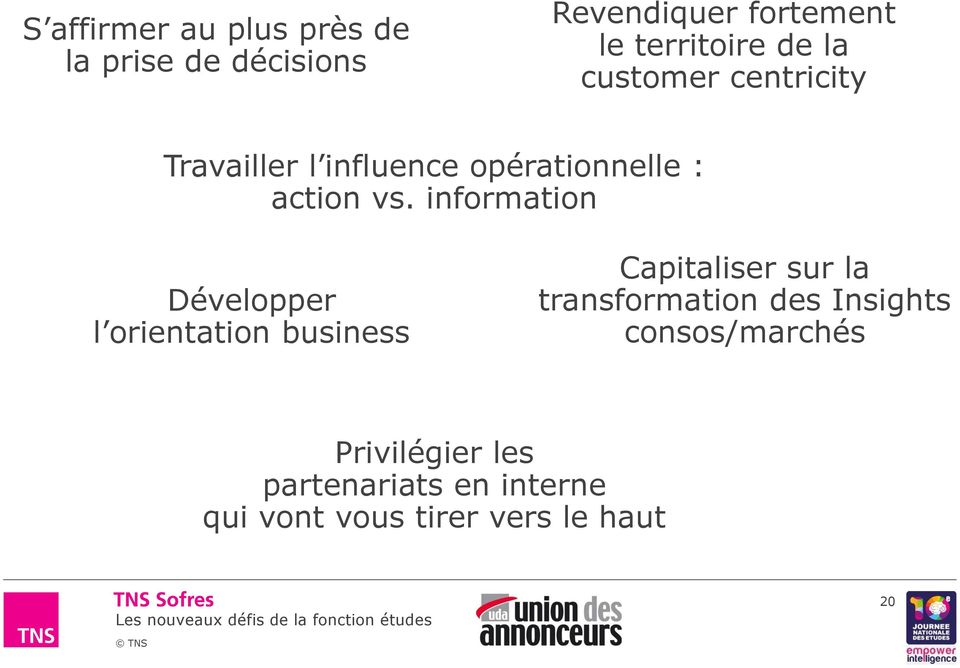 information Développer l orientation business Capitaliser sur la transformation des