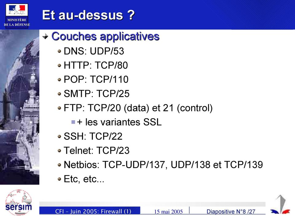 TCP/25 FTP: TCP/20 (data) et 21 (control) + les variantes SSL SSH: