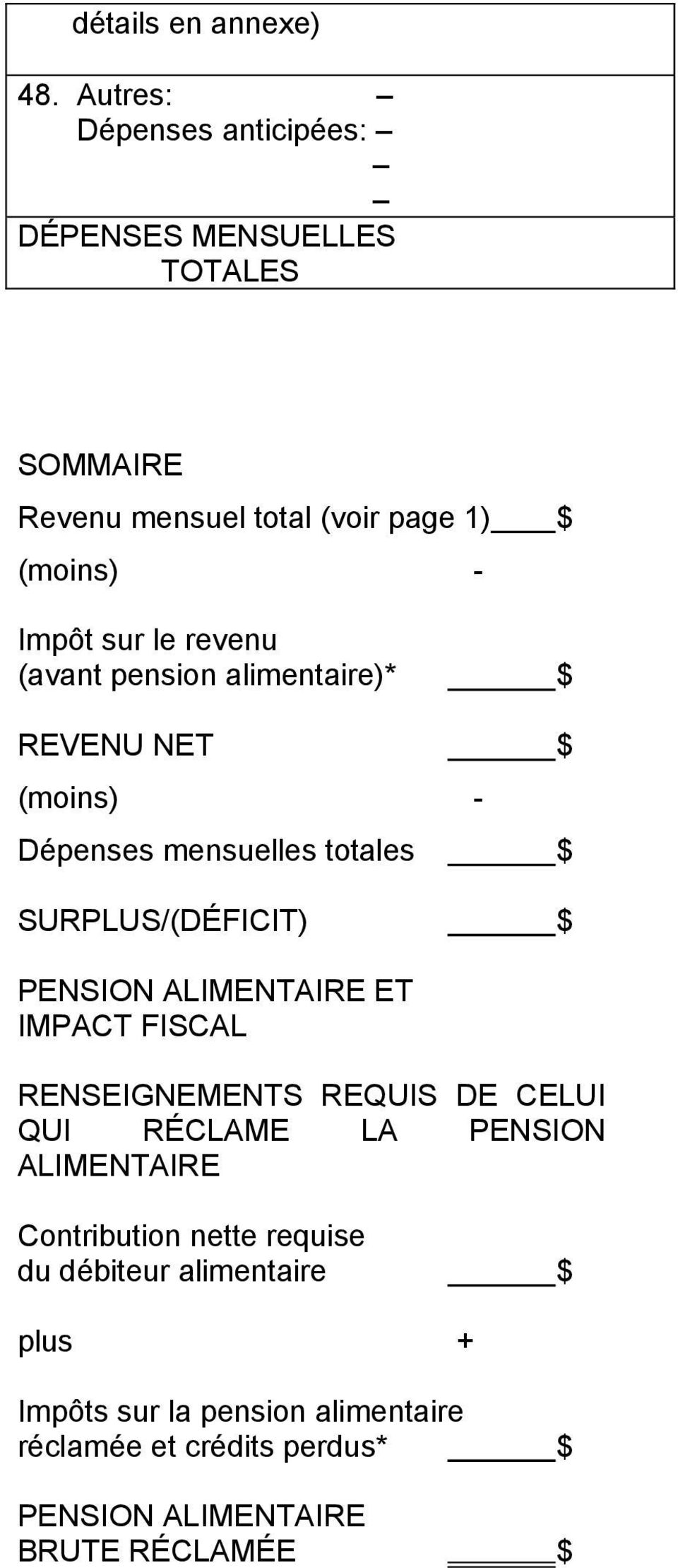 (avant pension alimentaire)* $ REVENU NET $ Dépenses mensuelles totales $ SURPLUS/(DÉFICIT) $ PENSION ALIMENTAIRE ET IMPACT