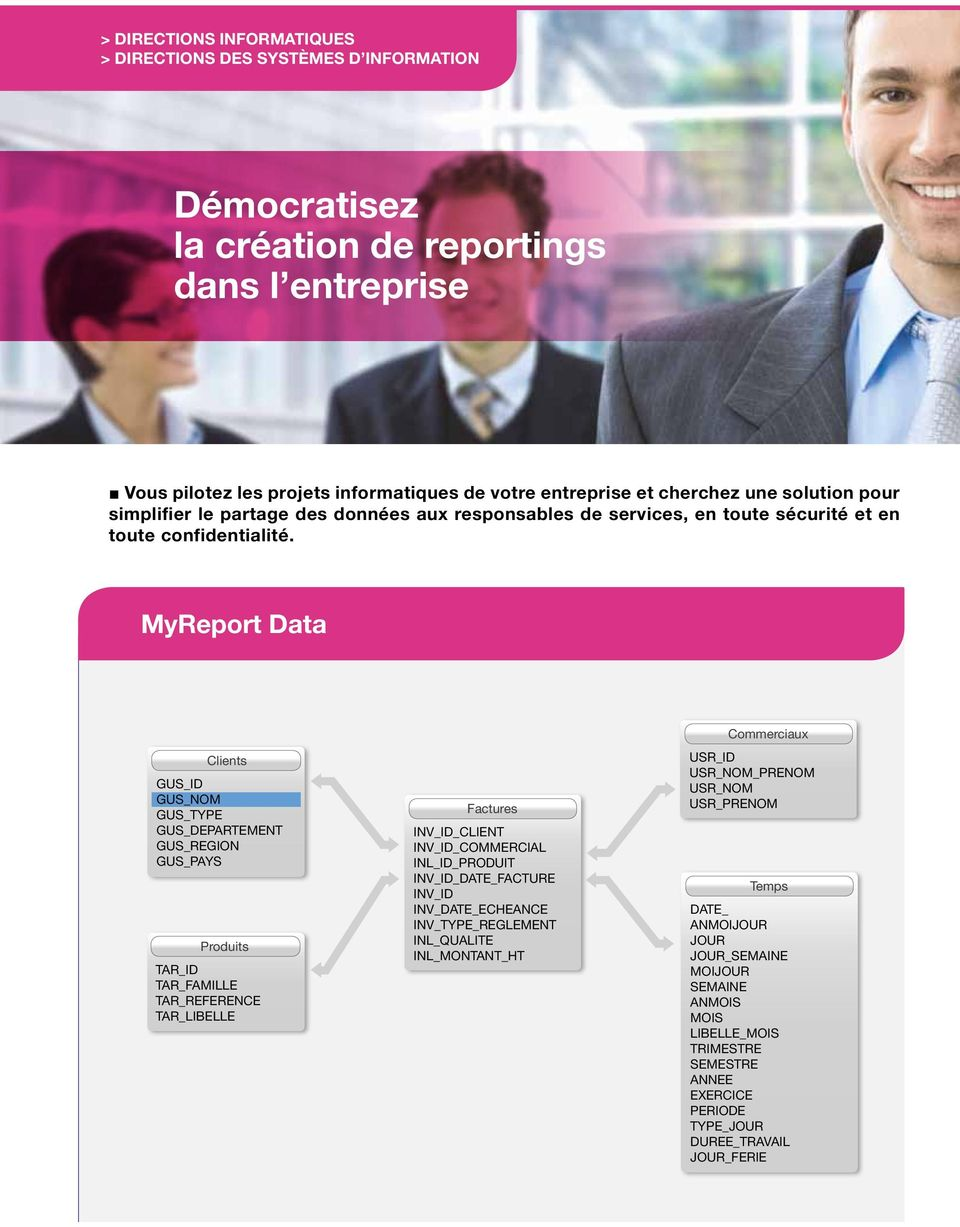 MyReport Data commerciaux Clients gus_id gus_nom gus_type gus_departement gus_region gus_pays produits tar_id tar_famille tar_reference tar_libelle factures inv_id_client inv_id_commercial