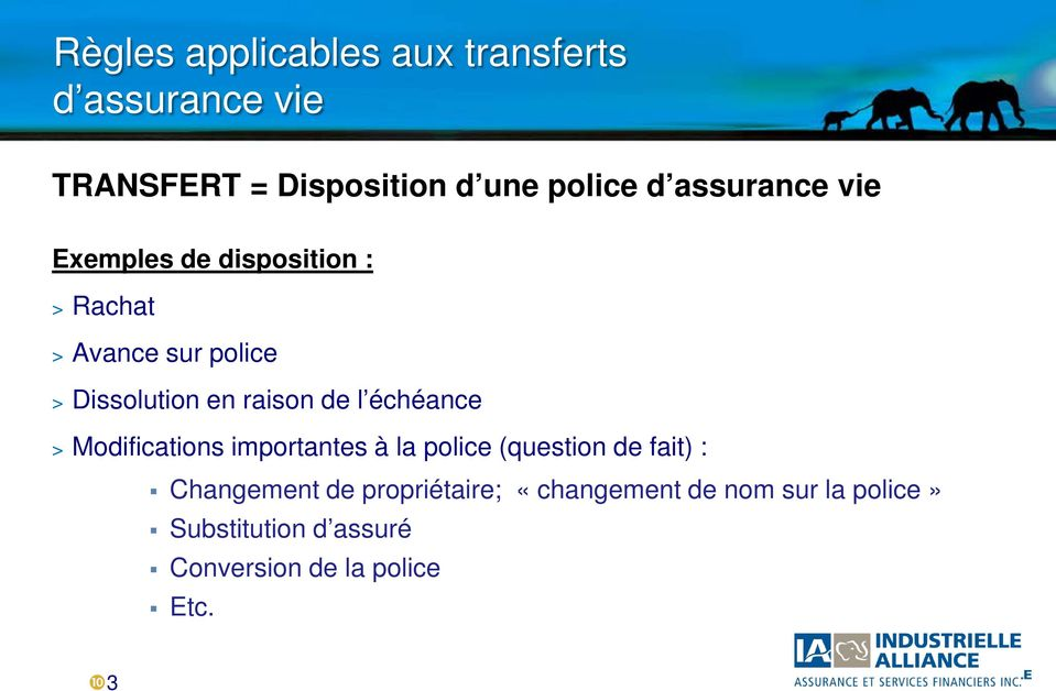 de l échéance > Modifications importantes à la police (question de fait) : Changement de