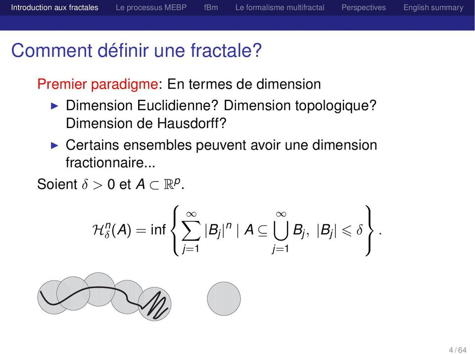 Dimension topologique? Dimension de Hausdorff?