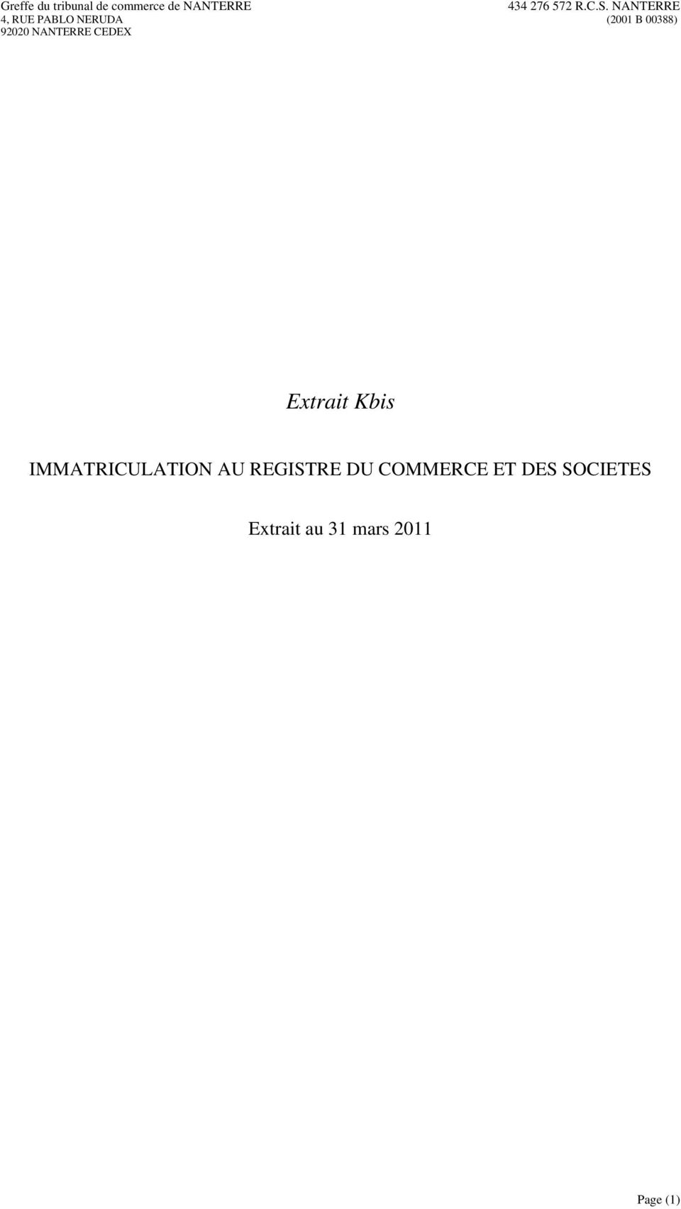 REGISTRE DU COMMERCE ET
