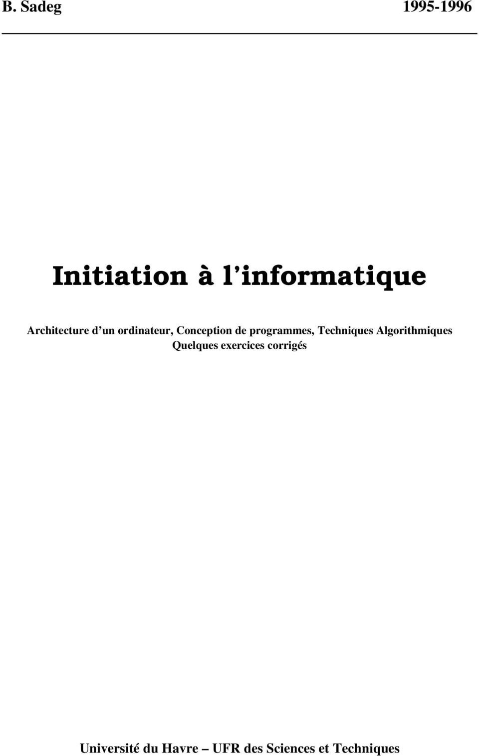 Initiation l informatique pdf for Architecture d un ordinateur