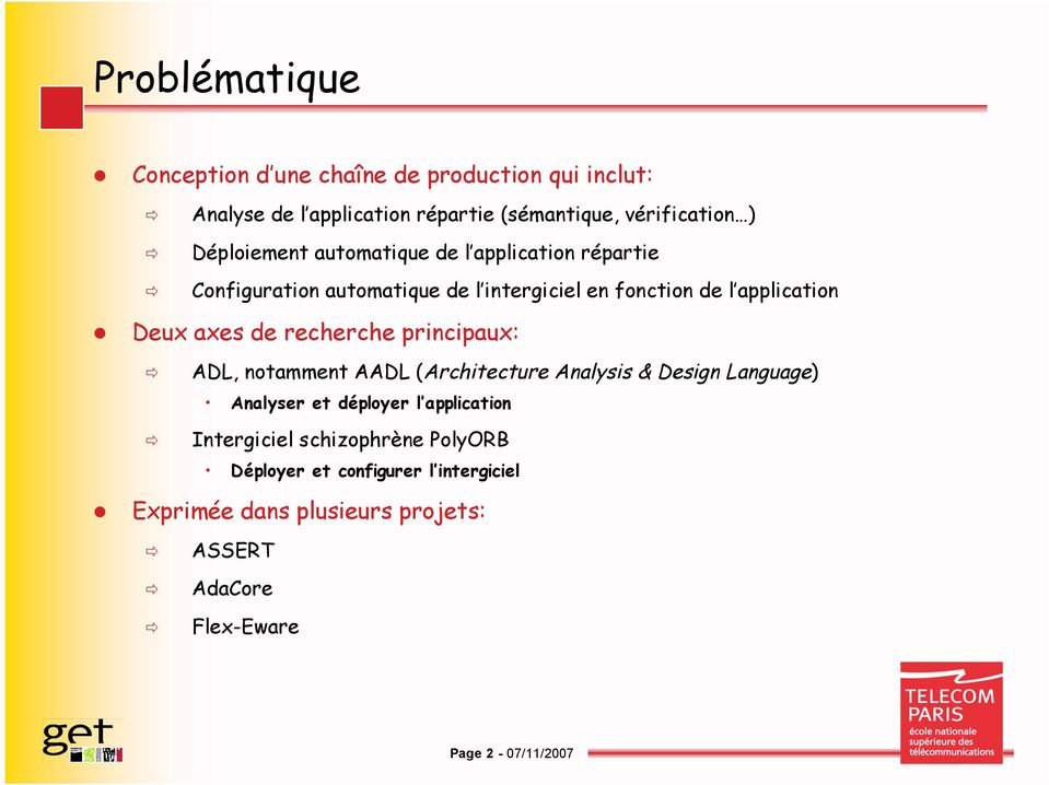 de recherche principaux: ADL, notamment AADL (Architecture Analysis & Design Language) Analyser et déployer l application