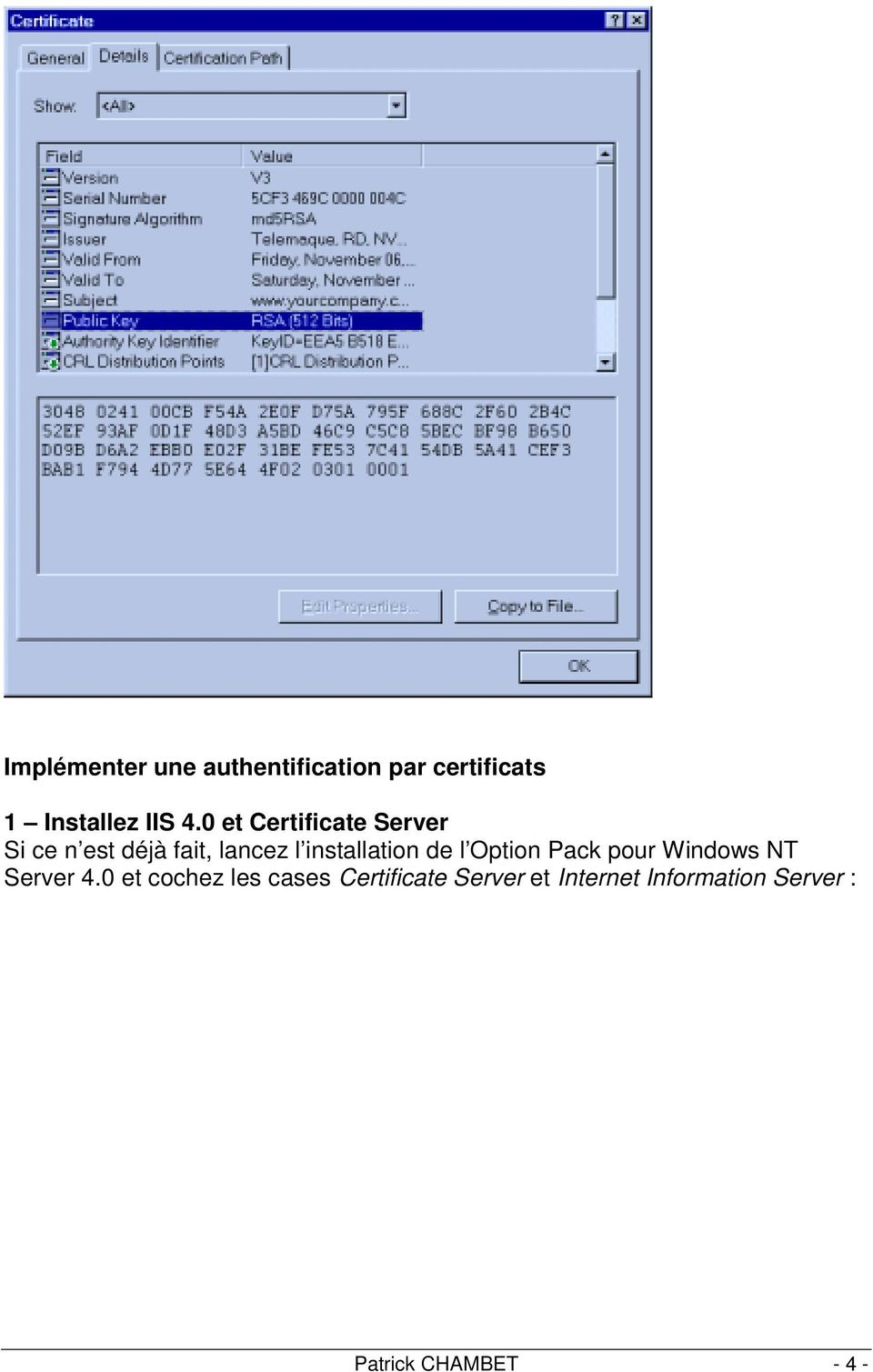 de l Option Pack pour Windows NT Server 4.