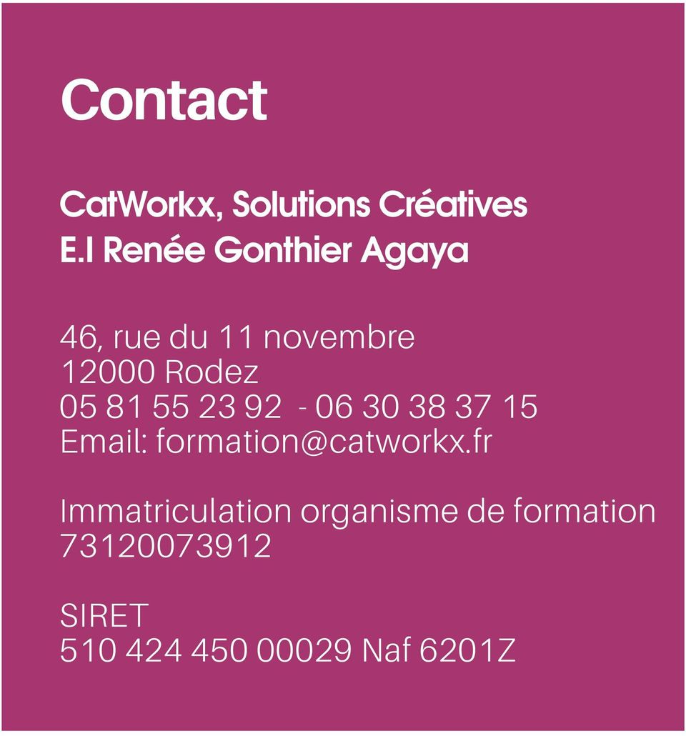 81 55 23 92-06 30 38 37 15 Email: formation@catworkx.