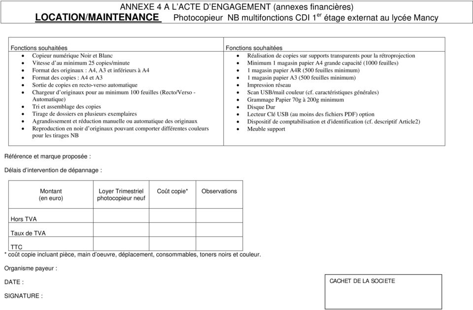 minimum 25 copies/minute Format des copies : A4 et A3 Chargeur d originaux pour au minimum 100