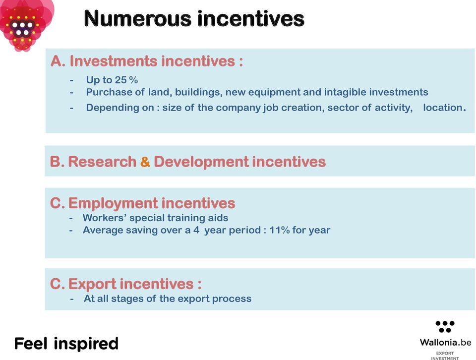 investments - Depending on : size of the company job creation, sector of activity, location. B.