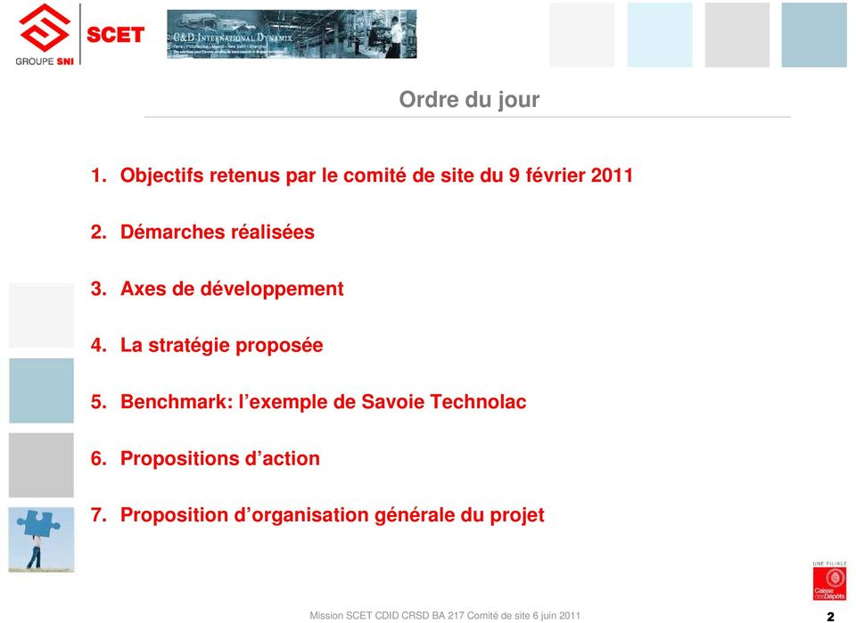 Benchmark: l exemple de Savoie Technolac 6. Propositions d action 7.