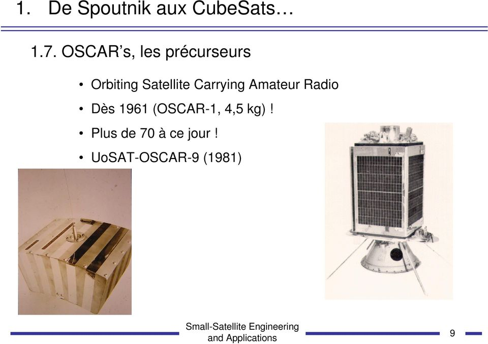 Satellite Carrying Amateur Radio Dès 1961