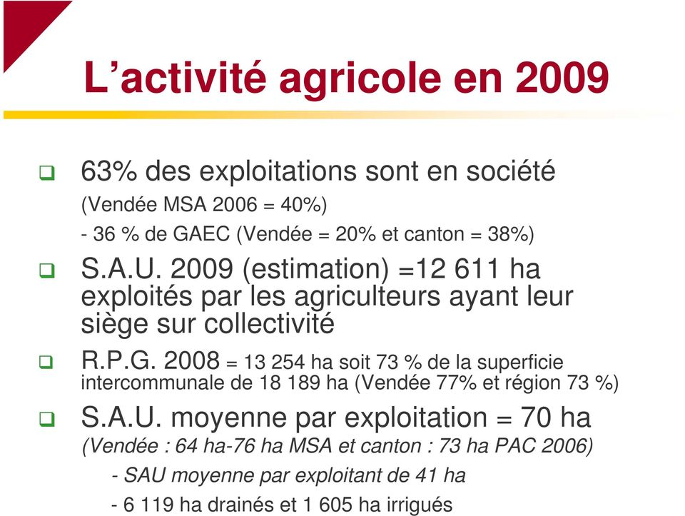 2008 = 13 254 ha soit 73 % de la superficie intercommunale de 18 189 ha (Vendée 77% et région 73 %) S.A.U.