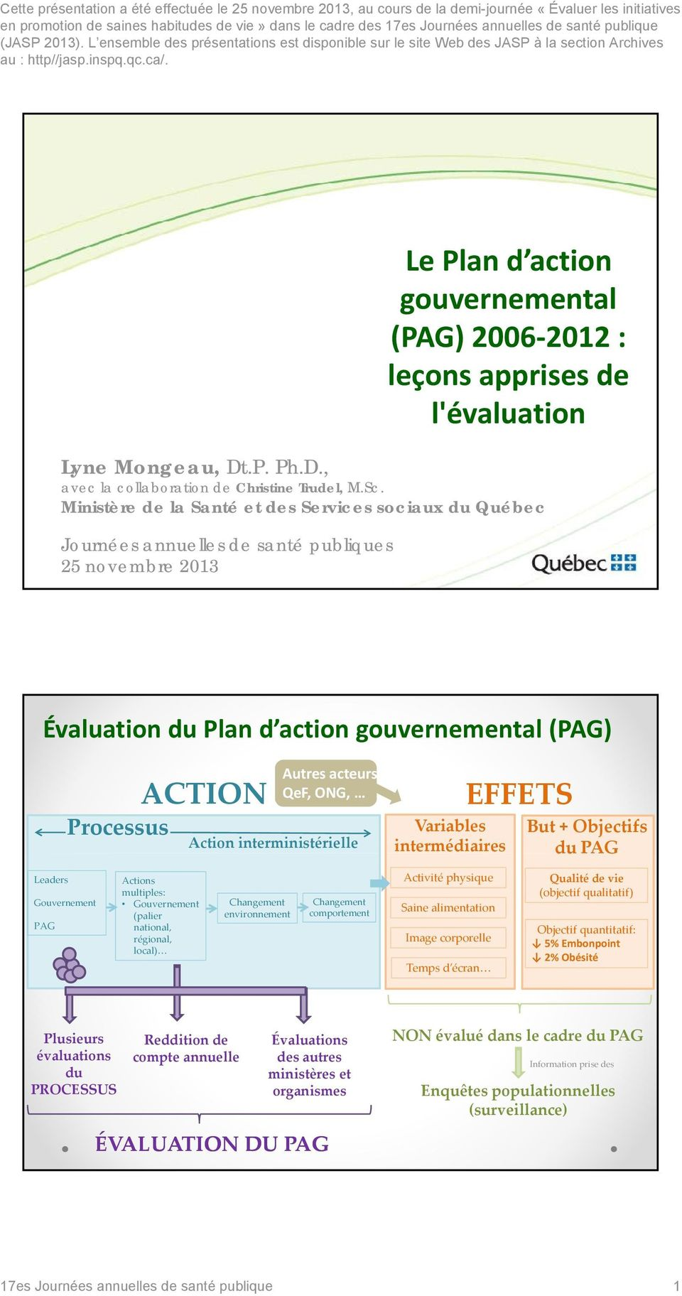 Le Plan d action gouvernemental (PAG) 2006 2012 : leçons apprises de l'évaluation Lyne Mongeau, Dt.P. Ph.D., avec la collaboration de Christine Trudel, M.Sc.