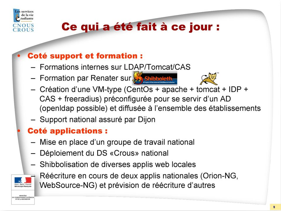 établissements Support national assuré par Dijon Coté applications : Mise en place d un groupe de travail national Déploiement du DS «Crous»