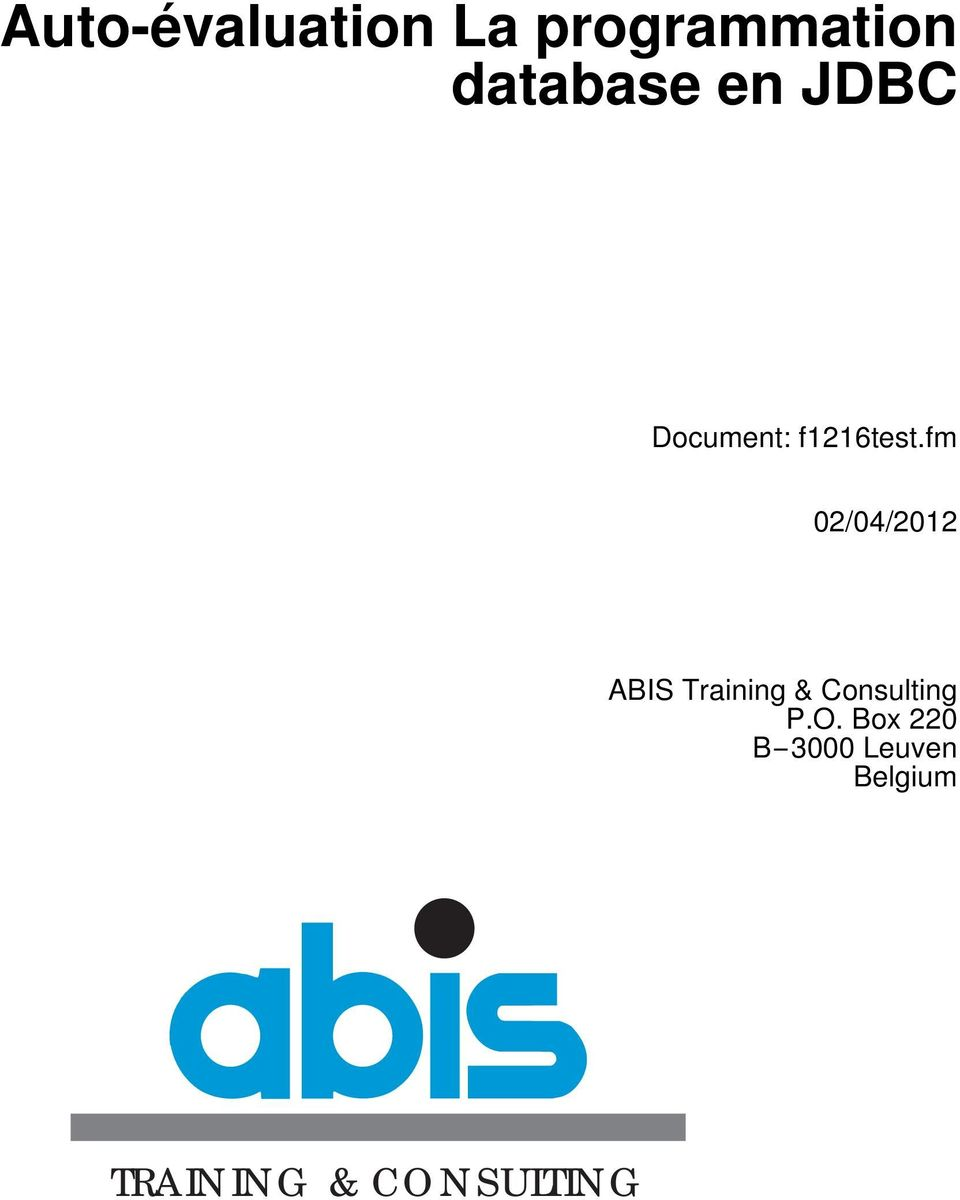 fm 02/04/2012 ABIS Training & Consulting