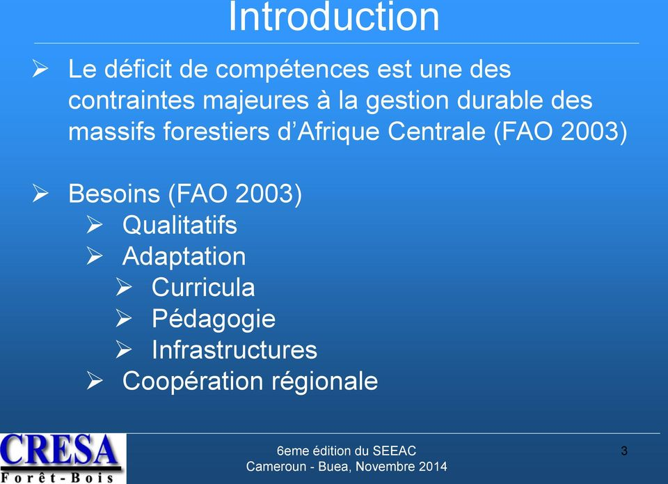 forestiers d Afrique Centrale (FAO 2003) Besoins (FAO 2003)