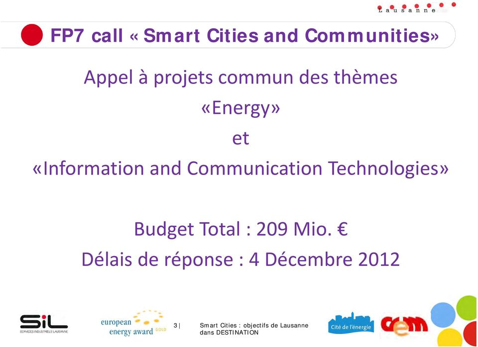 Communication Technologies» Budget Total : 209 Mio.