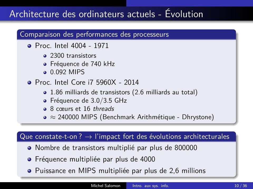 6 milliards au total) Fréquence de 3.0/3.5 GHz 8 cœurs et 16 threads 240000 MIPS (Benchmark Arithmétique - Dhrystone) Que constate-t-on?