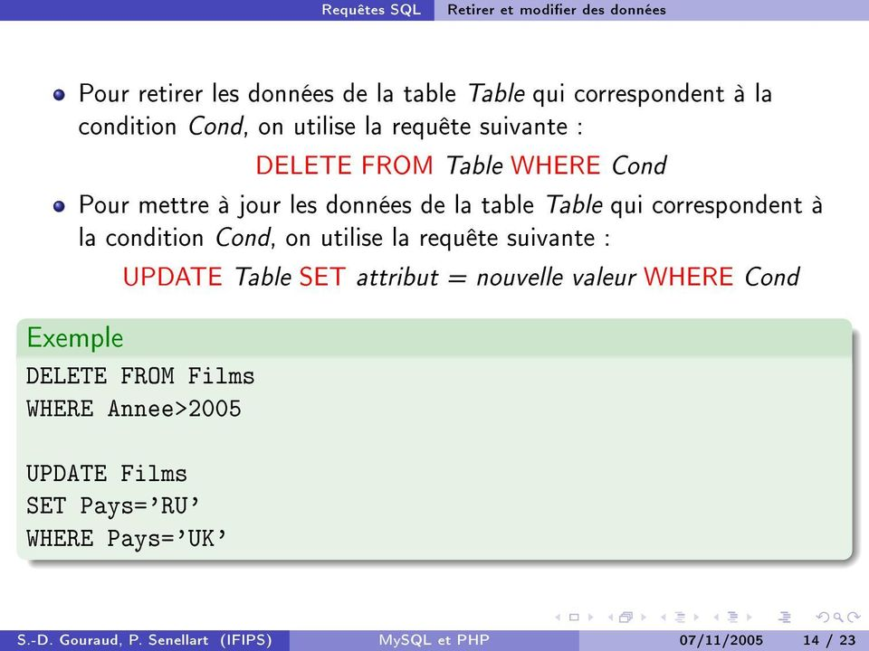 la condition Cond, on utilise la requête suivante : UPDATE Table SET attribut = nouvelle valeur WHERE Cond Exemple DELETE FROM