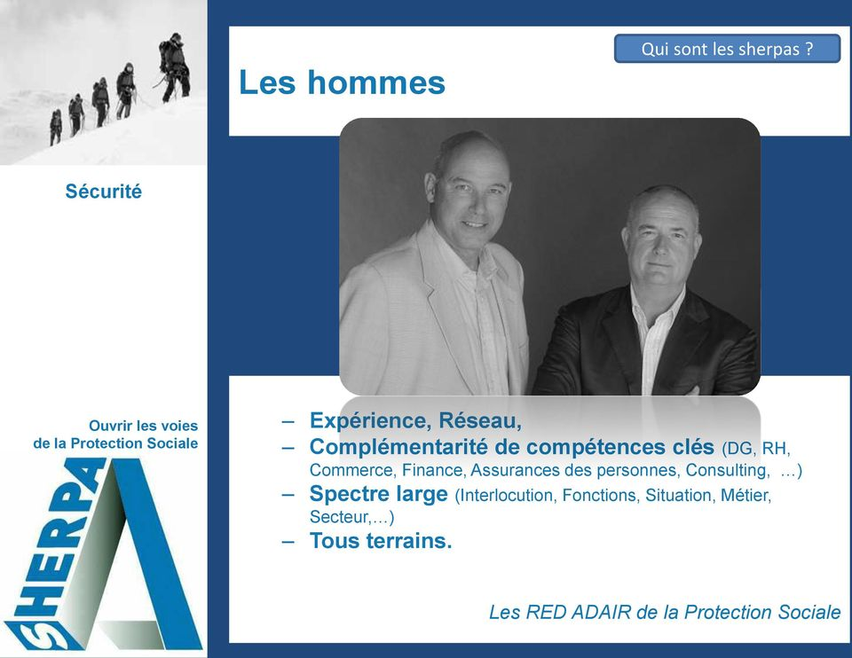 (DG, RH, Commerce, Finance, Assurances des personnes, Consulting,