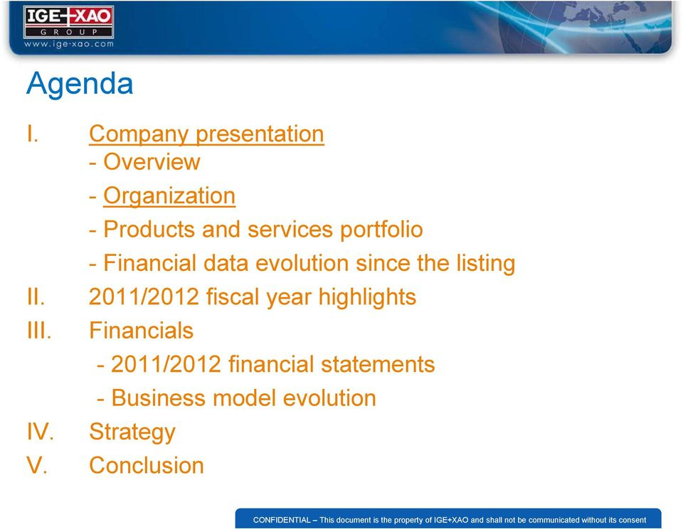 services portfolio - Financial data evolution since the listing