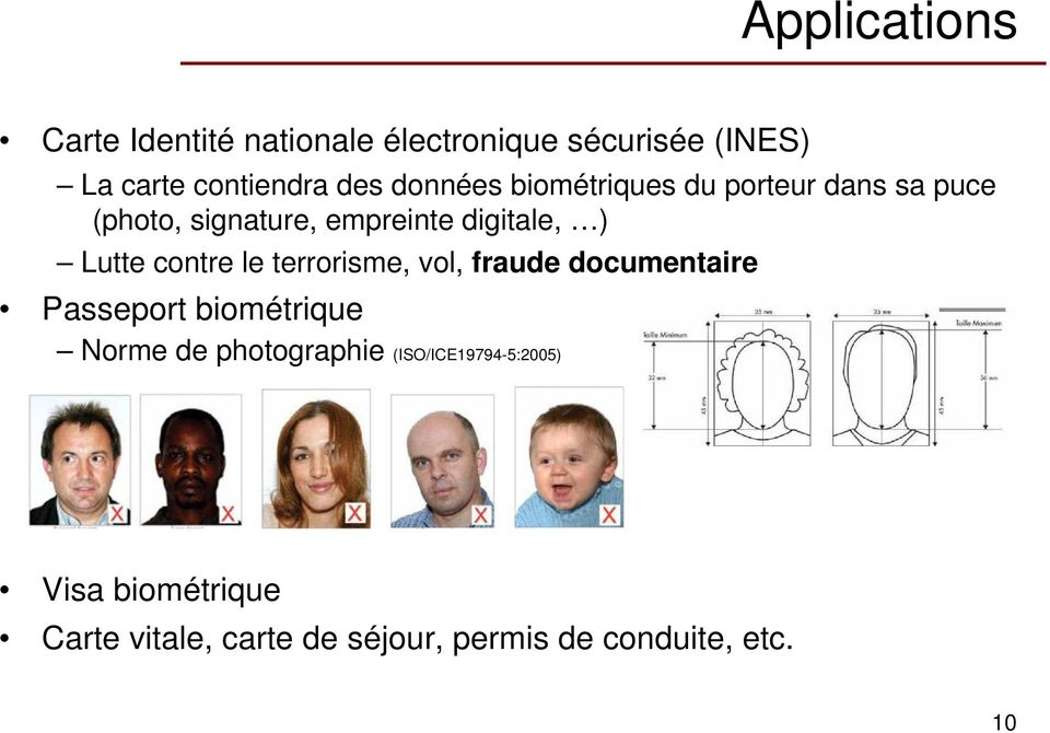 contre le terrorisme, vol, fraude documentaire Passeport biométrique Norme de photographie