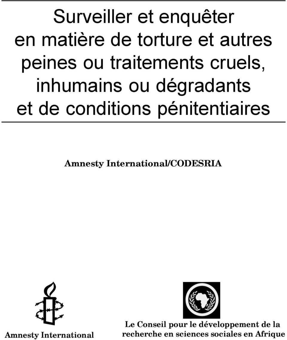 pénitentiaires Amnesty International/CODESRIA Amnesty International