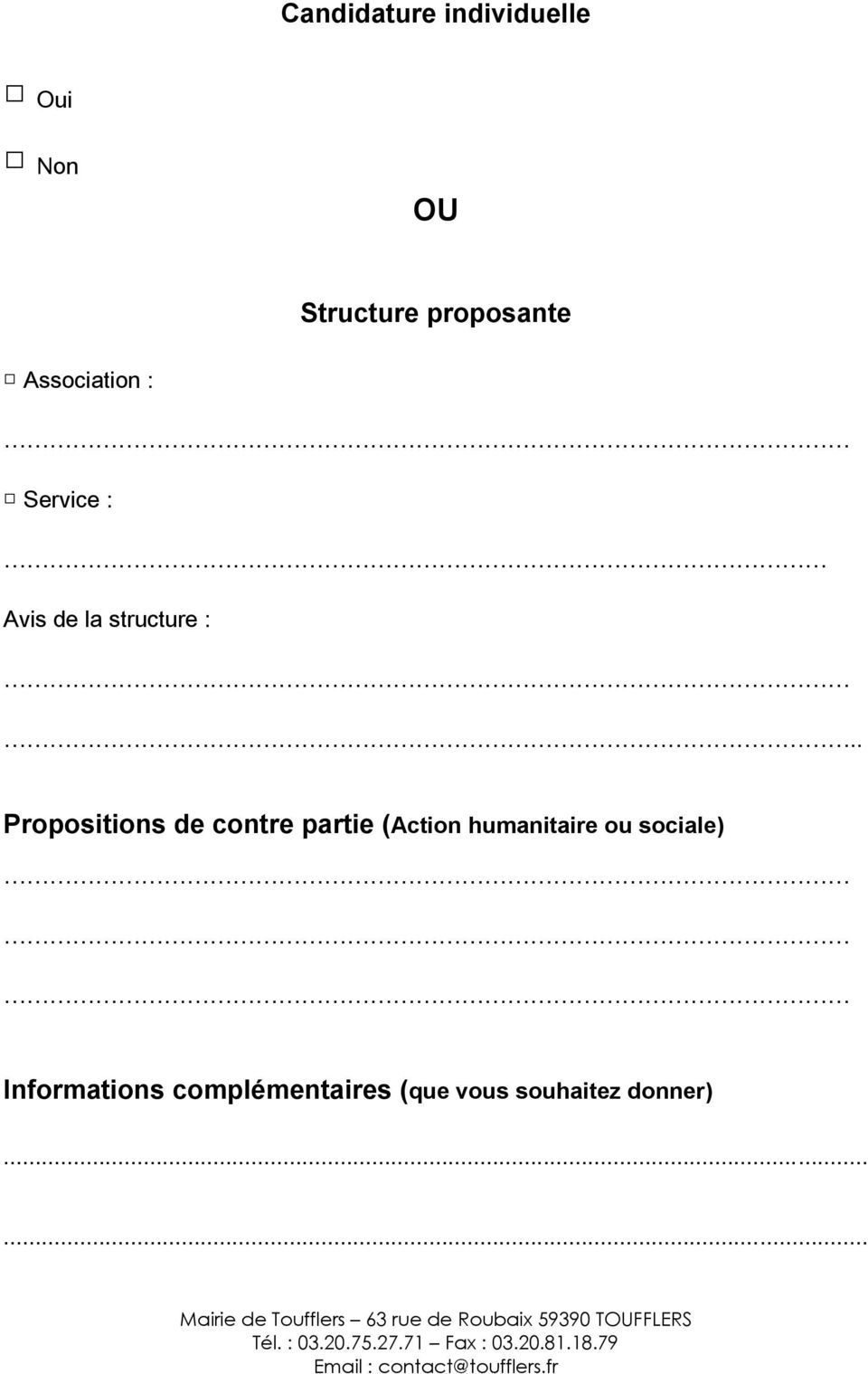 . Propositions de contre partie (Action humanitaire ou