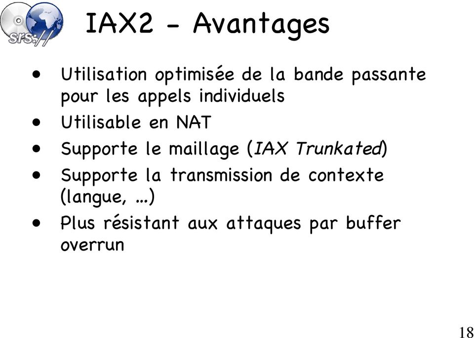 maillage (IAX Trunkated) Supporte la transmission de