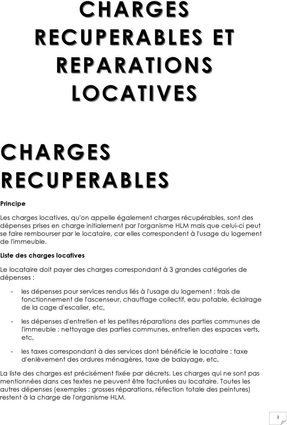 Charges charges recuperables et reparations locatives pdf - Repartition des charges locatives ...