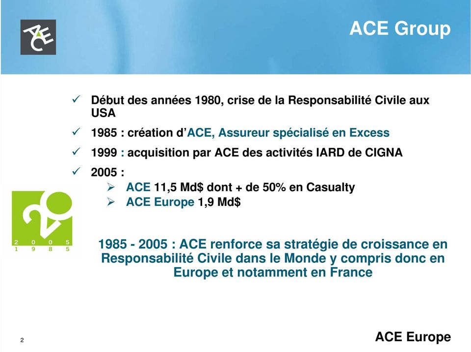 11,5 Md$ dont + de 50% en Casualty ACE Europe 1,9 Md$ 1985-2005 : ACE renforce sa stratégie de