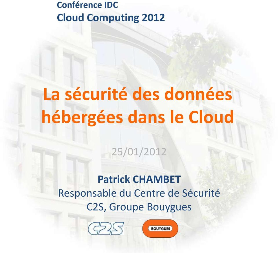 Cloud 25/01/2012 Patrick CHAMBET