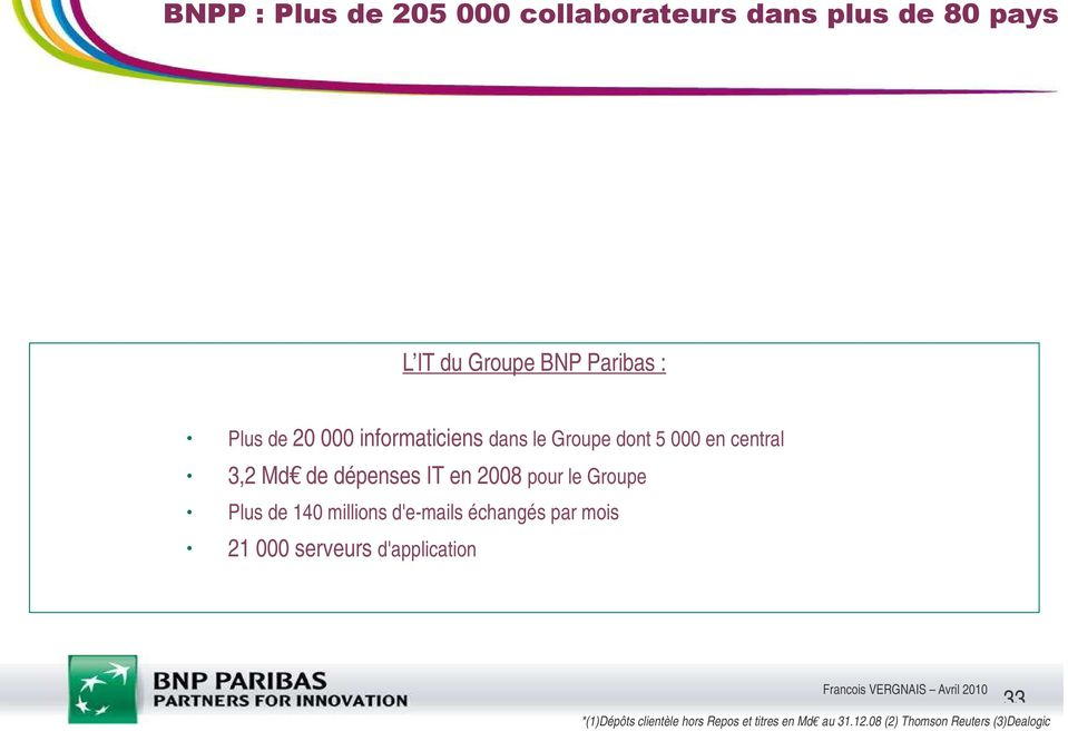 BNP Paribas : Plus de 20 000 informaticiens dans le Groupe dont 5 000 en central 3,2 Md de dépenses IT en 2008 pour le Groupe Plus de 140 millions