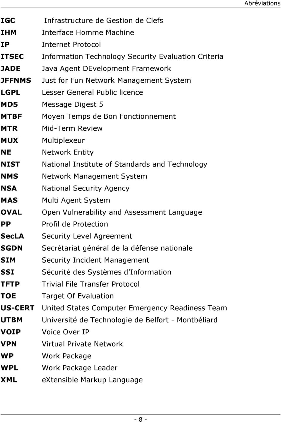 NIST National Institute of Standards and Technology NMS Network Management System NSA National Security Agency MAS Multi Agent System OVAL Open Vulnerability and Assessment Language PP Profil de